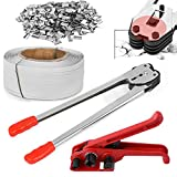 tonchean Packaging Strapping Banding Kit 1/2' x 3937' Steel Strapping Kit PET/PP Heavy Duty Manual Pallet Banding Machine Include Tensioner Tool, Sealer Tool, Coils, 1000 Metal Seals