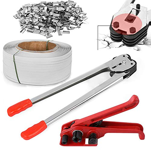tonchean Banding Strapping Kit 1/2' x 3937' PP/PET Packaging Banding Tools Heavy Duty Strapping Tool Machine Include Tensioner Tool, Sealer Tool, Coils, 1000 Metal Seals