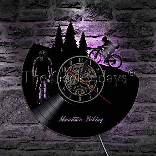 GODYS Reloj de Pared con Registro de Vinilo Deportivo de Bicicleta MTB de 1 Pieza con luz LED, luz de Pared con Silueta de Ciclista de Carreras