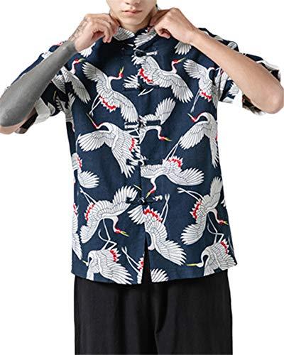 GUOCU Hombres Vintage Japonés Kimono Camisa Haori Estampado Casual Holgado Cárdigan Camiseta Color1 5XL