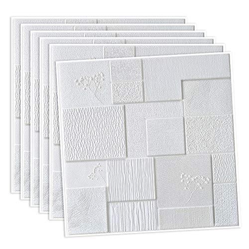 UHAPEER Paneles de pared 3D, autoadhesivos, aspecto de piedra, resistente al agua, 6 unidades, PVC espesado, panel de espuma suave, ladrillo anticolisión