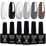 Allenbelle Smalto Semipermante Per Unghie Kit In Gel Uv Led Smalti Semipermanenti Per Unghie Nail Polish UV LED Gel Unghie(Kit di 6 pcs 7.3ML/pc) (007)