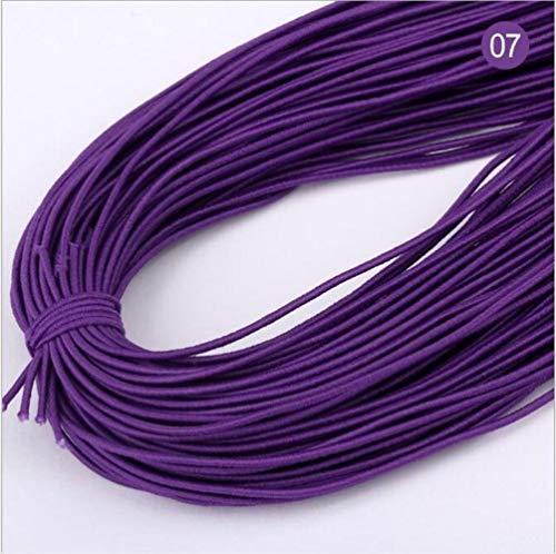 Hoge 20yards 1 mm Aantal elastische band om haarkleur elastiek strekt de rubberen band line DIY naaiaccessoires,07 donkerpaars,20 yards