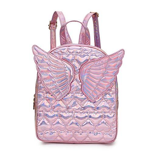 zhishen Mini mochila para niñas, bolso de hombro a la moda, deslumbrante, con corazón en relieve, alas decoradas, bolso de viaje, mochilas escolares para adolescentes, Bolsa-ROSADO