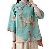 Women Summer 3/4 Sleeve Chinese Blouse Top Traditional Mandarin Collar Ethnic Cotton Linen Qipao Shirt (Blue, X-Large)