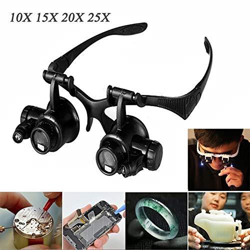 10X 15X 20X 25X LED Lupe,Lupenbrille mit licht,Kopfband Lupen,Verstellbarem LED Licht Lupe für Uhrmacher Reparatur,Hobby,Elektriker,Juweliere,Nähen,Handwerk