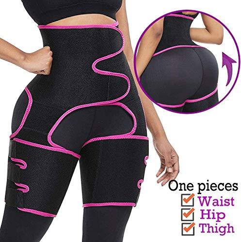 3-in-1 Oberschenkel-Trimmer, hoher Taillengürtel, zum Abnehmen - Rot - Small-Medium