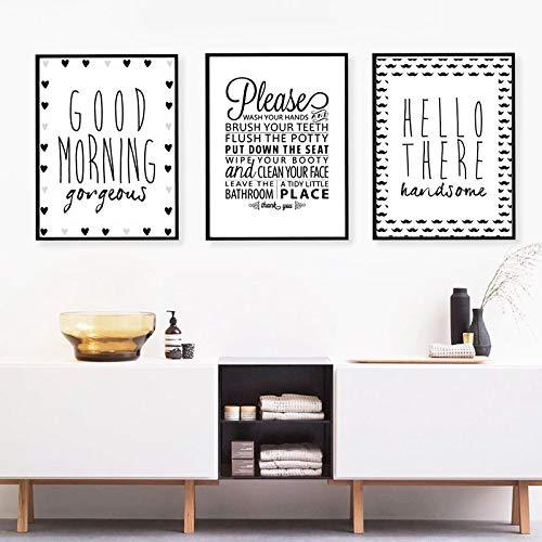 Impresión de Arte de Pared y póster Reglas de baño Goodmorning Gorgeous Hello Handsome Quote Canavs Painting Decoración de baño 60x80cm (24x32in) x3 Marco Interior