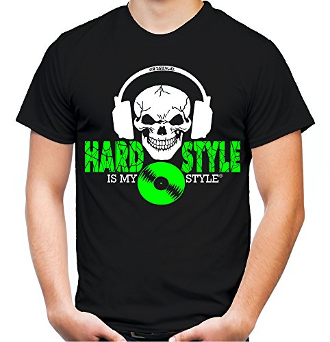 Hardstyle is My Style Männer und Herren T-Shirt | Hardcore Musik Techno Gabber Geschenk | M4 FB (Schwarz-Druck Neongrün, L)