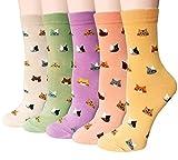 Chalier 5 Paar Damen Baumwolle Socken mit Lustiger Tiere Malerei Kurz Lässige Mädchen Socken (Stil 13)