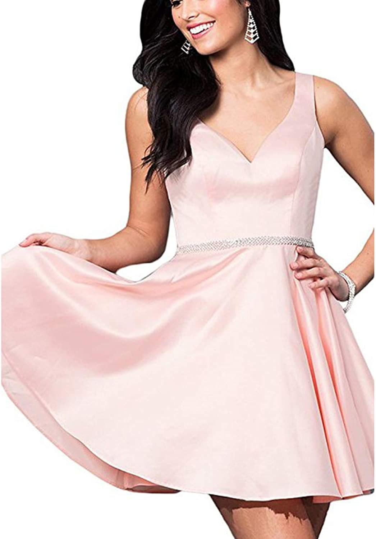 Heloise Women's Short Aline Homecoming Dress Beaded Satin Party Dresses VNeck