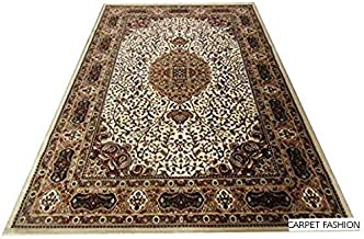 Carpet Fashion Carpets Kashmiri Design Persian Carved Runner Carpet for Your Hall & Living Room with 1 inch Thickness 2 X 6 Feet (60x180 cm) Ivory Multi Carpet Fashion