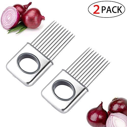 2 Pcs Küchenzwiebelwerkzeug Zwiebel Halter Gemüse Kartoffel Cutter Slicer Gadget Edelstahl-Gabel-Slicing Geruch Entferner-Küche-Werkzeug-Hilfe-Gadget Chopper Cutting