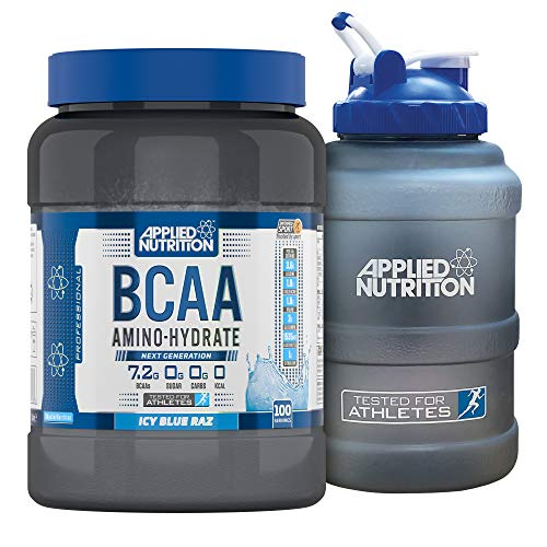 Applied Nutrition Bundle: BCAA Amino Hydrate Powder 1.4kg + 2.5 LTR Water Jug | Branched Chain Amino Acids Supplement with Electrolytes, B Vitamins, Intra Workout & Recovery Drink (ICY Blue Raz)