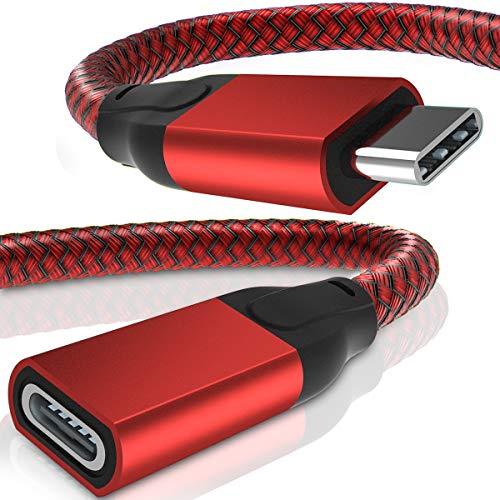 USB C Verlängerungskabel 0.2M (2 Stück),USB Typ C 3.1 Gen2 10Gbps Buchse auf Stecker Adapter,(Thunderbolt 3 Compatible) Extension Cable für Macbook Pro,Mac Air, Microsoft Surface Go,Dell XPS 15 13