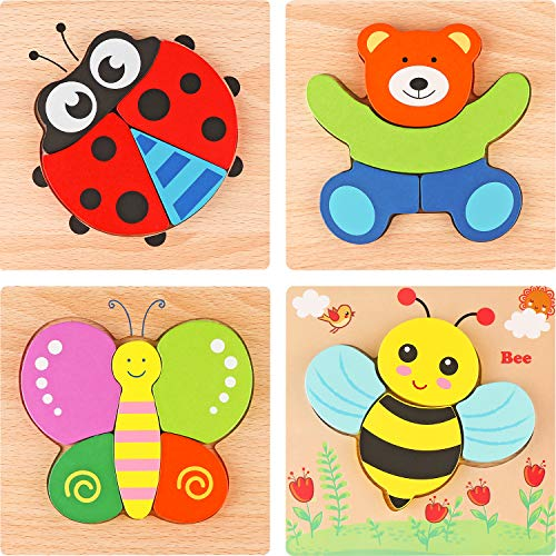 Tinabless Wooden Animal Jigsaw Puzzles for Toddlers 1 2 3 Years Old, Boys &Girls Educational Toys Gift with 4 Animals Patterns, Bright Vibrant Color Shapes