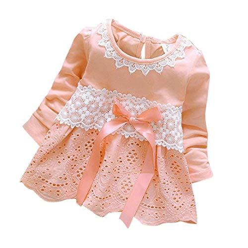 Glaiidy Fleurs De Bébé Dentelle Creuse Princesse Robes Filles Douces Cadeaux de Vacances Manches Longues Bowknot Vêtements Mignons 0 36 Mois (Color : Rosa, Size : 18 Monate)