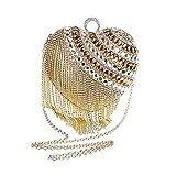ClearloveWL Bolso de noche con diseño de corazón con diamantes y borla de cristal, bolso de noche (color: dorado)