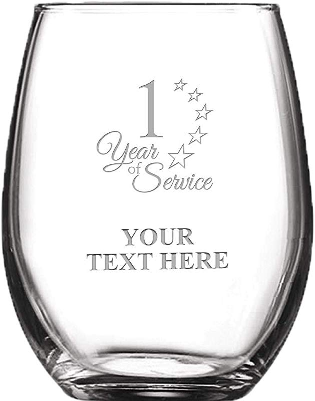 1 Year Of Service Personalized Wine Glass 8 Oz Custom Soiree Stemless Employee Anniversary Wine Glass Gift Engraving Included