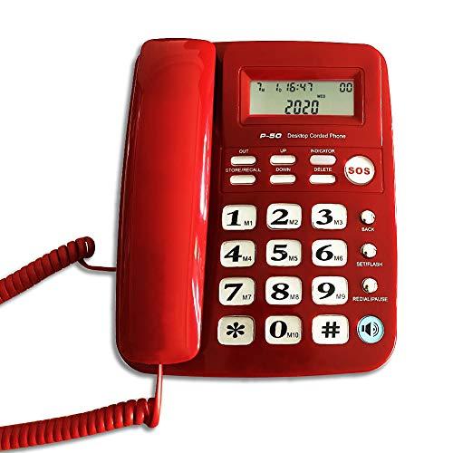 Corded Phone with Caller ID, HePesTer P-50 Home Landline Phone for Elderly Seniors Wired Desk...