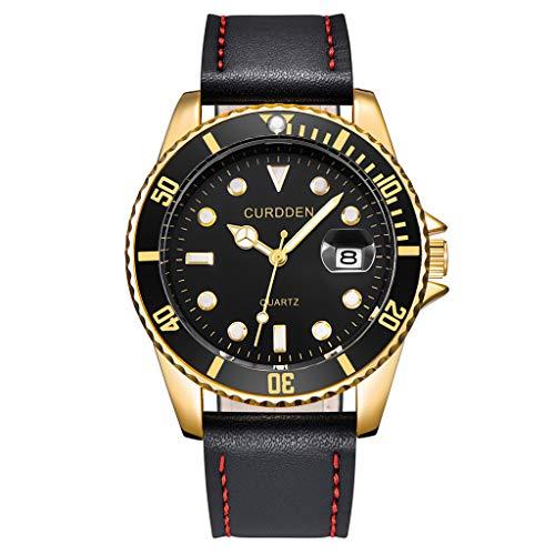 Luckhome Herren Armbanduhr Uhren Mode Analoger Quarz Männer Armbanduhren Analoge Quarz-Runde Der Art- Und Weisemänner Leder-Geschäfts-Uhr(Schwarz)