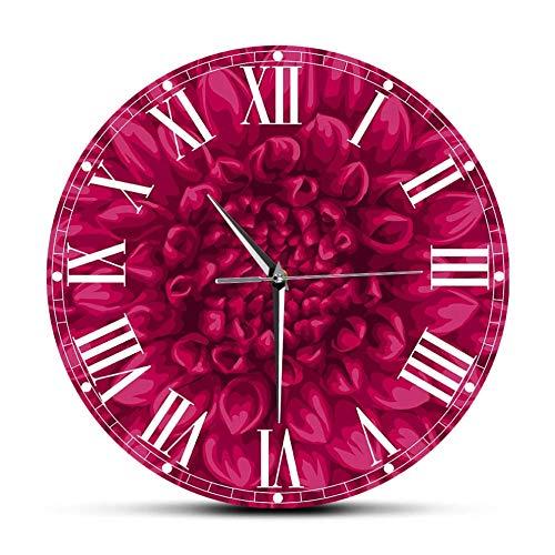 Wjlytf Schöne rosa Dahlie runde Uhr Wanduhr Blume Bedruckte Uhren Modernes Design Blumen Pettern Schönheit in der Natur Horologe 30cm