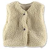 OHREN Toddler Girl Sherpa Vest Faux Fur Kid Lightweight Warm Outerwear Beige, 3T