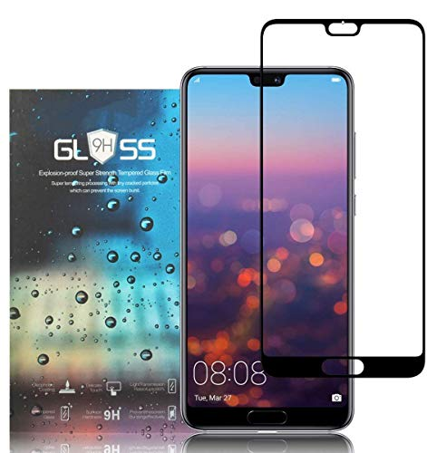 Tempered Glass Screen Protector for Huawei P20 Pro, [Pack of 3] 9H Hardness, Full Coverage, Anti Bubbles, Anti-Scratch, Ultra Thin HD, Premium Tempered Glass Screen Protector for Huawei P20 Pro