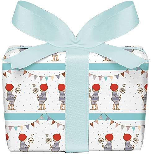3er-Set Geschenkpapier Bögen für Kinder/Kindergeburtstag/Baby/Geburt/Taufe mit WICHTELMÄNNCHEN GRILANDE in BLAU • Format : 50 x 70 cm