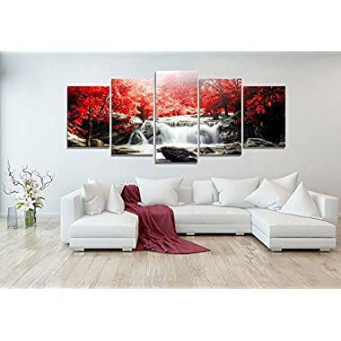youkuart kx9906 5-Piece Red Woods Waterfall Canvas Print Paintings for Wall and Home DÃcor
