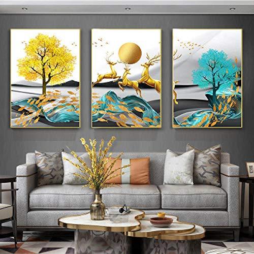 HNBLSHM Acción de gracias para Navidad Moderno y simple árbol dorado alce mural hotel sala de estar sofá pintura de la pared dormitorio estudio decoración 40cmx50cmx3 Sin marco