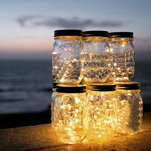 TAOtTAO - Tarro de Cristal Solar para Exteriores con Panel Solar Integrado y LED para Iluminación, 1.46, Color Amarillo