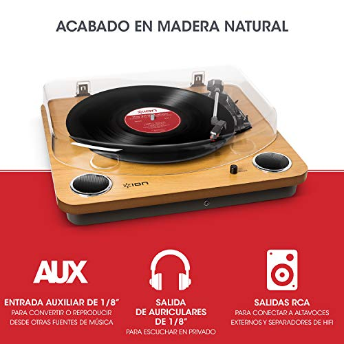 ION Audio Max LP - Tocadiscos de vinilo de 3 Velocidades con Altavoces estéreo,...