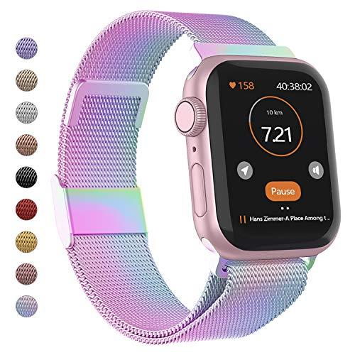 Adepoy für Apple Watch Armband 38mm 40mm 42mm 44mm, Edelstahl Metall Armband mit Magnetverschluss Kompatibel mitiWatch Series 1/2/3/4/5 (Bunt, 42mm/44mm)
