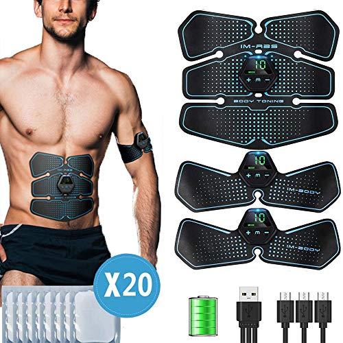 ZIXINCEN Electroestimulador Muscular Abdominales, USB Recargable EMS Estimulador Muscular Abdominales, 10 Modos, 20 Niveles Diferentes para Abdomen/Cintura/Pierna/Brazo