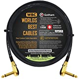 2 Foot - Gotham GAC-1 Ultra Pro - Low-Cap (21pF/ft) Guitar Bass Effects Instrument, Patch Cable & Gold (6.35mm) Low-Profile R/A Pancake Type Connectors - Custom Made by WORLDS BEST CABLES