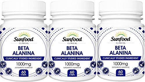 Beta Alanina 1000 mg Sunfood 60 Cápsulas Kit 3 Unidades