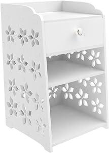 Table de chevet blanche avec un tiroir