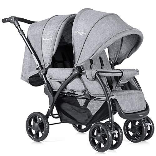 COSTWAY Geschwisterwagen Zwillingswagen Zwillingsbuggy Kinderwagen Baby Reisebuggy faltbar grau