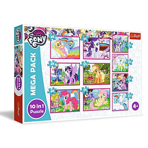 Trefl, Juego de 10 Juegos de Rompecabezas, el Mundo mágico de los Ponis de 20 a 48 Piezas, My Little Pony, para niños a Partir de 4 años