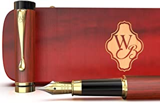 Wordsworth and Black's Calligraphy Pen - Luxury Wooden Bamboo Fountain Pen - Refillable Ink Converter-Smooth Ink Flow For Precision Writing, Journaling, Drawing (Rosewood, Gift Case [Medium Nib])