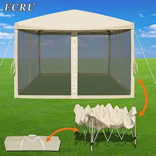 Strong Camel Easy Pop Up Canopy Tent 10-Feet x 10-Feet Gazebo with Mesh Side Walls Screen House (Ecru)