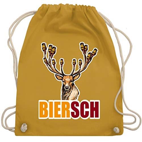 Shirtracer Sprüche - Biersch - Bier und Hirsch - Unisize - Senfgelb - Spruch - WM110 - Turnbeutel und Stoffbeutel aus Baumwolle