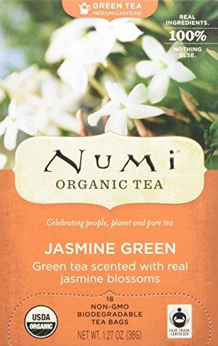 Numi Organic Tea, Jasmine Green, 18 Count Box of Tea Bags