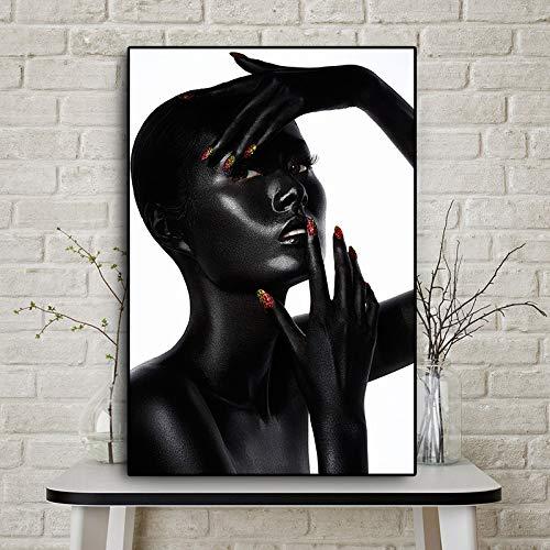 Frameloze zwarte Afrikaanse naakt en rode nagellak posters en prints op canvas voor woonkamer muurschilderingen <> 60x90cm