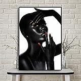 PLjVU Affascinante Dipinto di Smalto Nero Africano e Rosso su Tela per Poster e Stampe di affreschi del Soggiorno-Senza telaio40x60cm