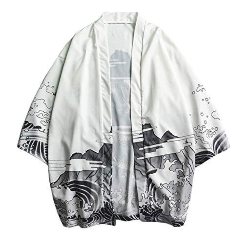 Routinfly Mode-Männer Kleidung, Liebhaber Individualität Print Top Bluse Kimono Hot Spring Kleidung