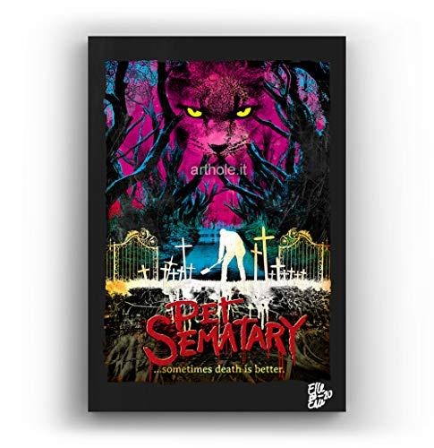 Arthole.it Pet Sematary di Stephen King - Quadro Pop-Art Originale con Cornice, Dipinto, Stampa su Tela, Poster, Locandina Horror, Halloween