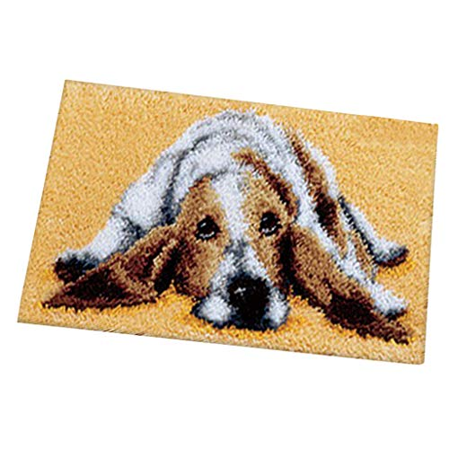 #N/a Kit de fabricación de cojines para alfombras con gancho de pestillo para niños que aprenden manualidades de gancho - Perro, 50x30cm