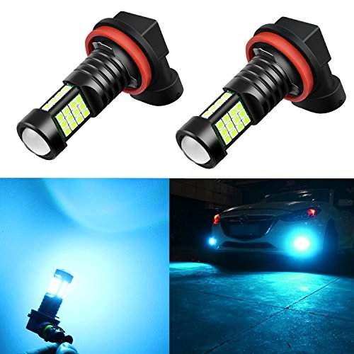 Alla Lighting H11 LED Bulbs Xtreme Super Bright 8000K Ice Blue 12V 3030 36-SMD Fog Lights DRL Replacement for Cars, Trucks